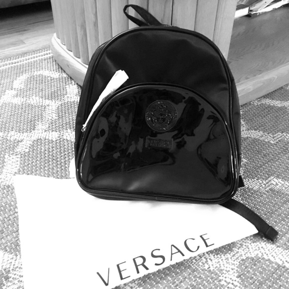 b0fb8391ab1 Versace Bags Nwot Black Mini Backpack Poshmark uk availability 55fec 2cea3  ...